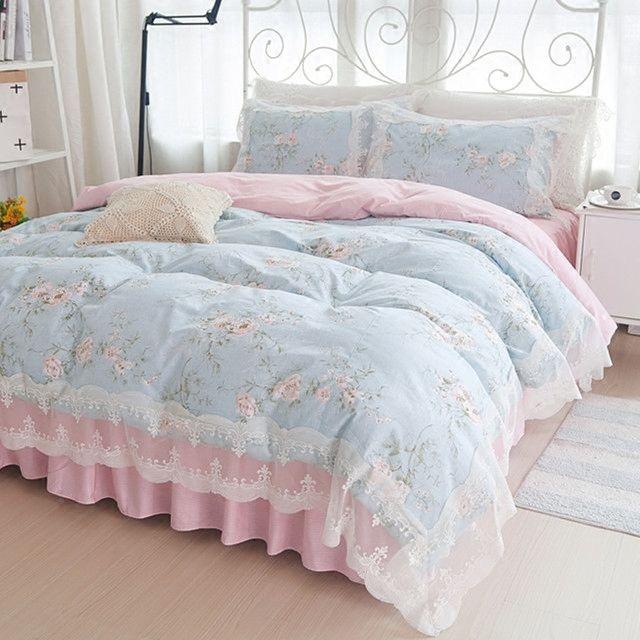 Korean Princess bedding set cotton 4pcs girl lace duvet cover set Bed sheet pillowcases wedding bedclothes linen king queen size Z1126