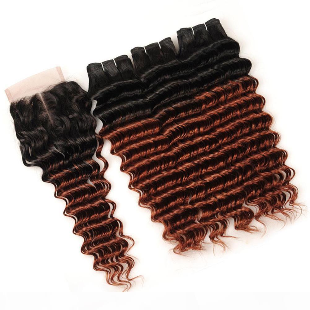 # 1B 33 Koyu Auburn Ombre Hint Derin Dalga İnsan Saç Atkı Kapatma Ile 3 Markalar Kırmızımsı Kahverengi Ombre 4x4 Dantel Ön Kapatma ile Örgüler