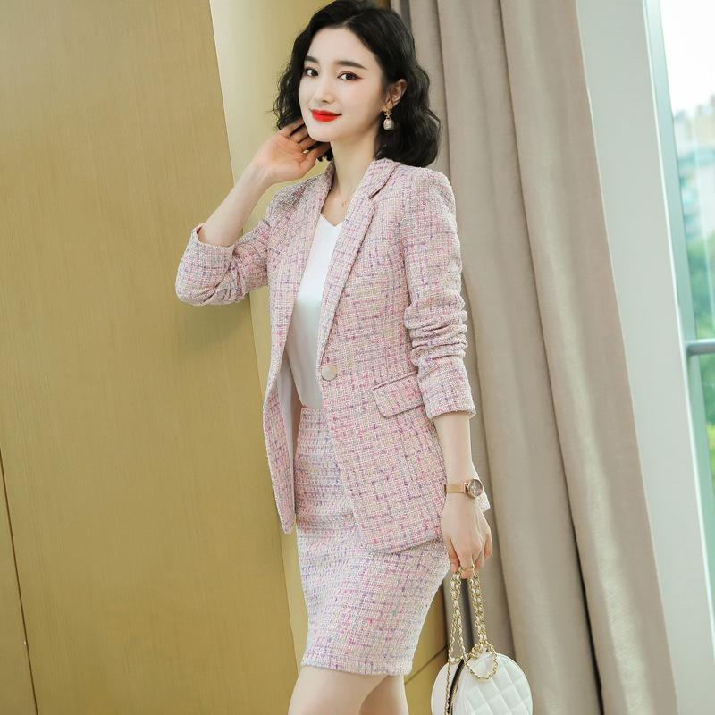Winter Skirt Suit Woman Elegant Temperament Long-Sleeved Tweed Jacket Coat Set Office Lady Overall for Work s