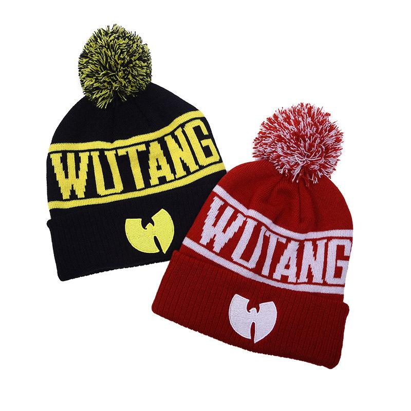 WUTANG BEANIES 새로운 패션 겨울 WU 당나라 여성을위한 남자 힙합 니트 모자 양모 모자