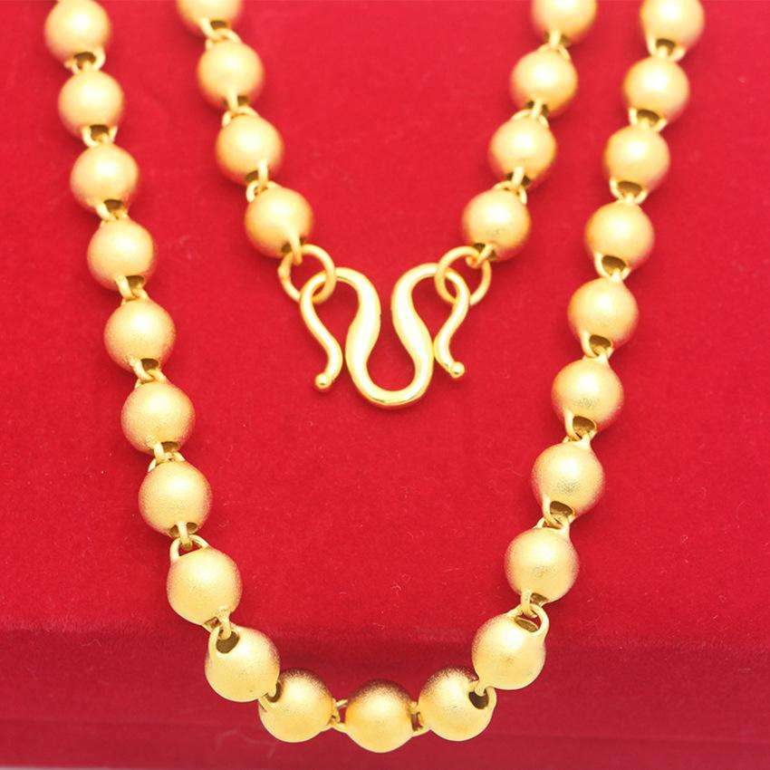 Shop mit hohlen mattierten Buddha-Perlen Halskette Vietnam Sand Pure Messing Vergoldeter Schmuck Mann IYII