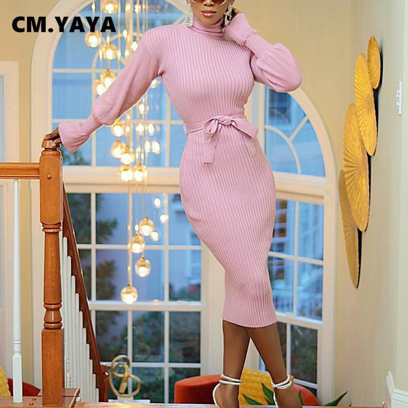 CM.YAYA Women Ribbed Turtleneck Long Sleeve with Sashes Bodycon Midi Dress for Office Lady Workwear Bandage Dresses fall winter