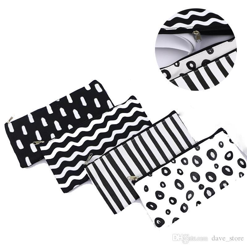 Stripe lápis saco bolso escola cosmética maquiagem lápis caneta organizador saco caso bolsa de estoquinho escritório material escolar