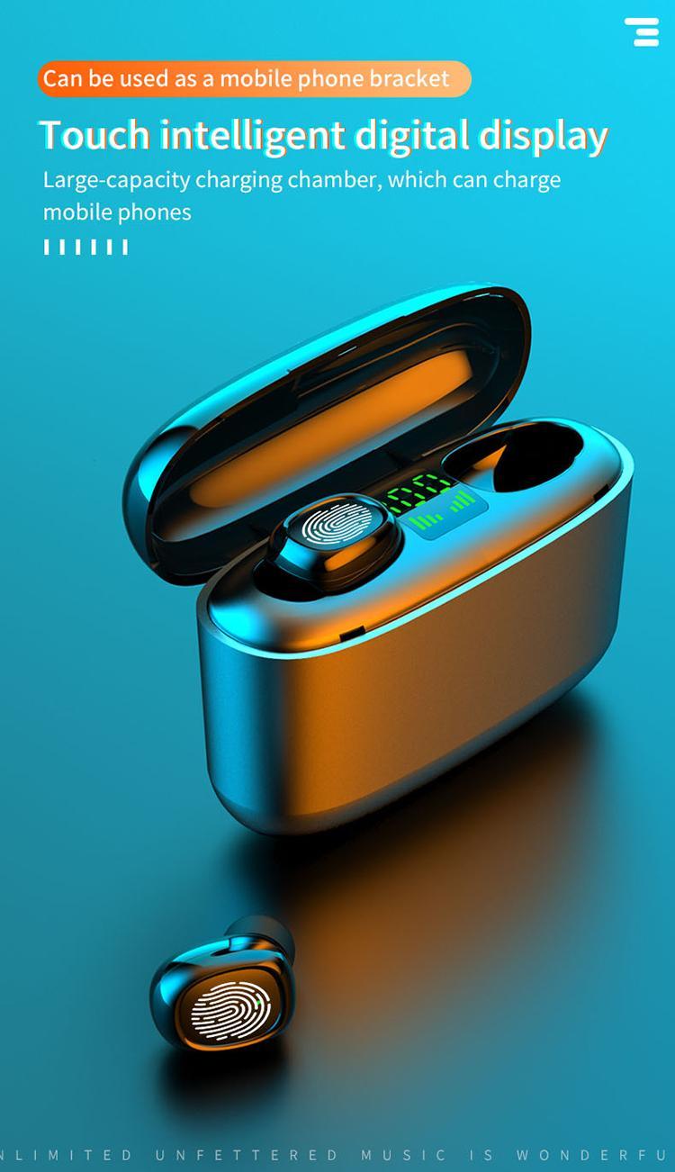 TWS 블루투스 이어폰 5.0 무선 헤드폰 충전 박스 스포츠 헤드셋 귀 싹이 듀얼 마이크 아이폰 안드로이드