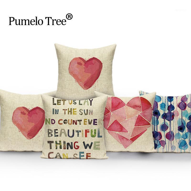 Colorido rosa almofada capa coração faixa travesseiro letra letra lance almofadas outdoor decoração Alta qualidade linho cojim1