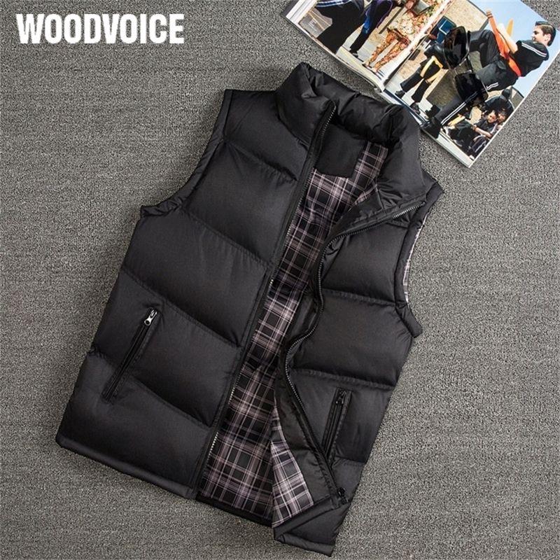 Woodvoice Marke Winter Männer Slim Fit Casual Weste Männliche Warme Weste Sleeveless Jacken Stehkragen Männer Westen Plus Größe Y201123