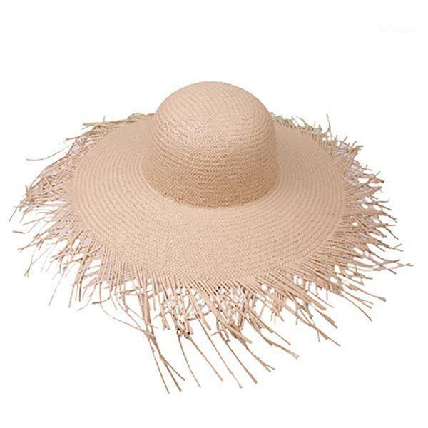 Соломенные шляпы широкие большие широкие краевые соломенные шляпы пляжа мода лето большое солнце шляпа1