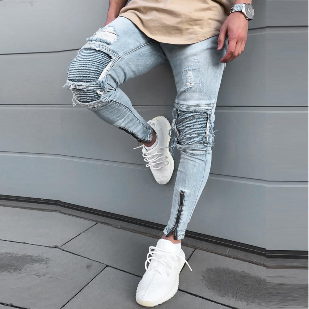 Homem rasgado Slim Fit Motor Denim Jeans Hiphop Streetwear Masculino Moda Casual Hip-Hop Broek # 45