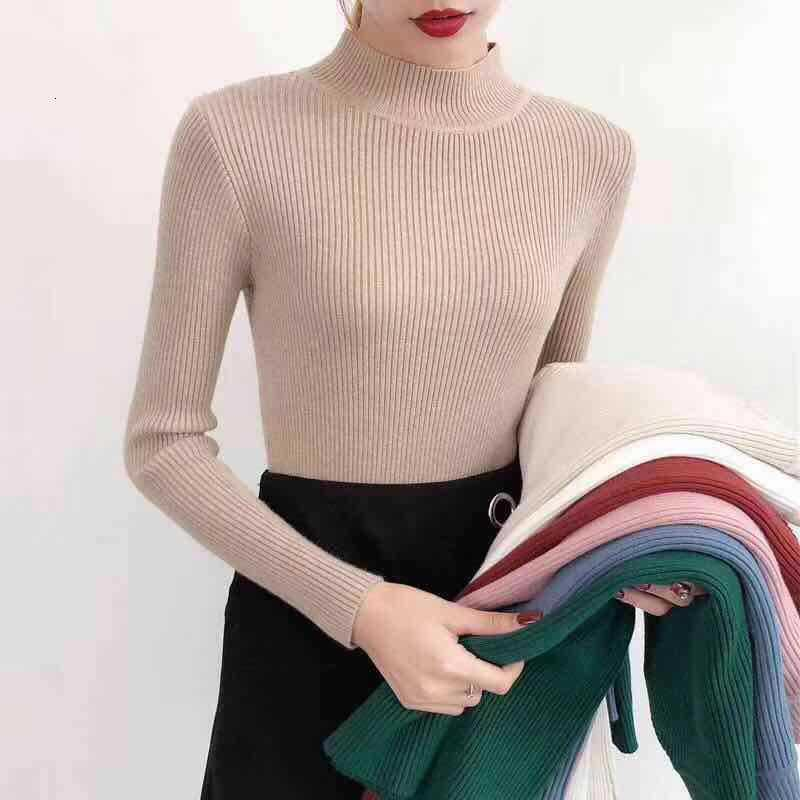 Autumn Long Sleeve Women Sweater Knitted Turtleneck Pullovers Winter Elasticity Multicolor Solid Slim Streetwear Top Female 2020