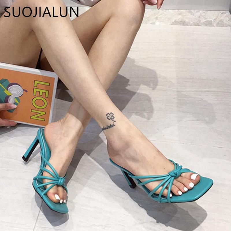 SUOJIALUN 2020 New Design Narrow Band Slipper Ladies Thin High Heel Sandal Summer Outdoor Dress Slides Casual Flip Flop Shoes C0128