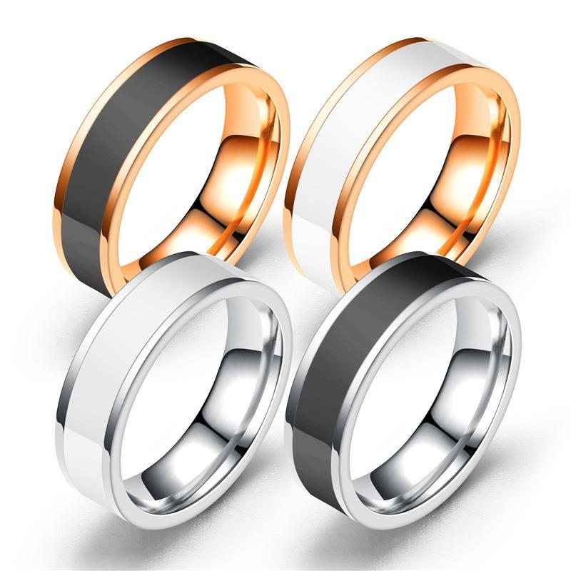 Fashion Jewelry Ring for Men and Women Simple Design Black and White Titanium Stainless Steel Anniversary Ring for Men Anillos M