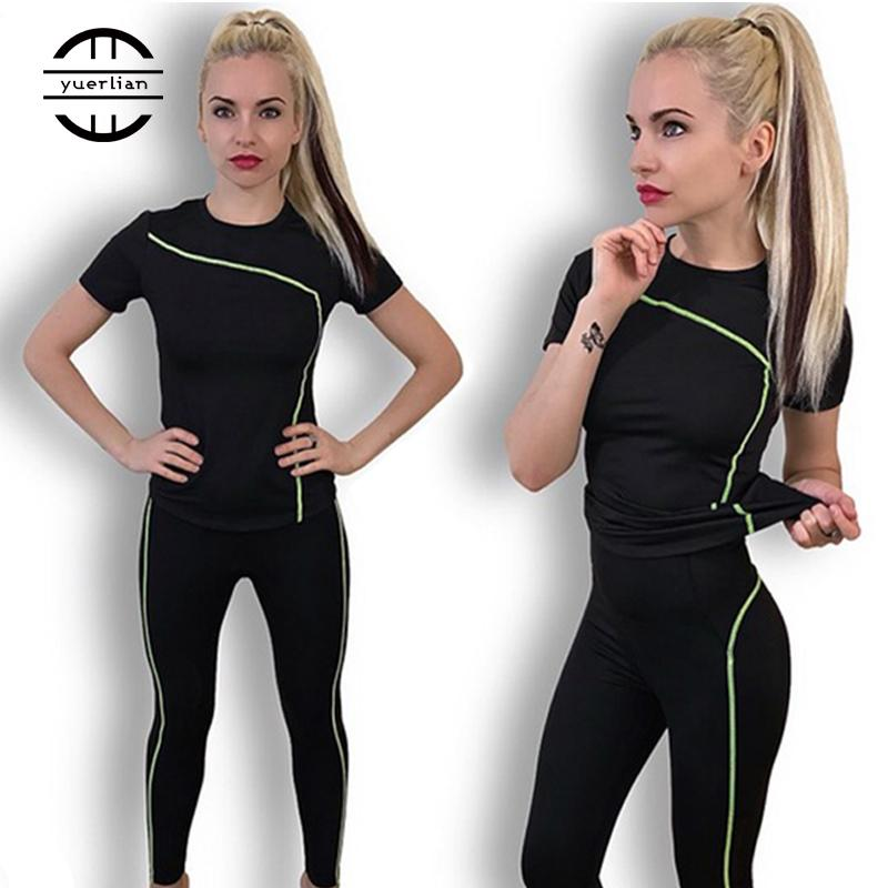 Jeu de yoga sèche sèche 2 pièces femelle pantalon long manches courtes à manches de sport extérieur costume de remise en forme et tenue de sport pour femme T200618