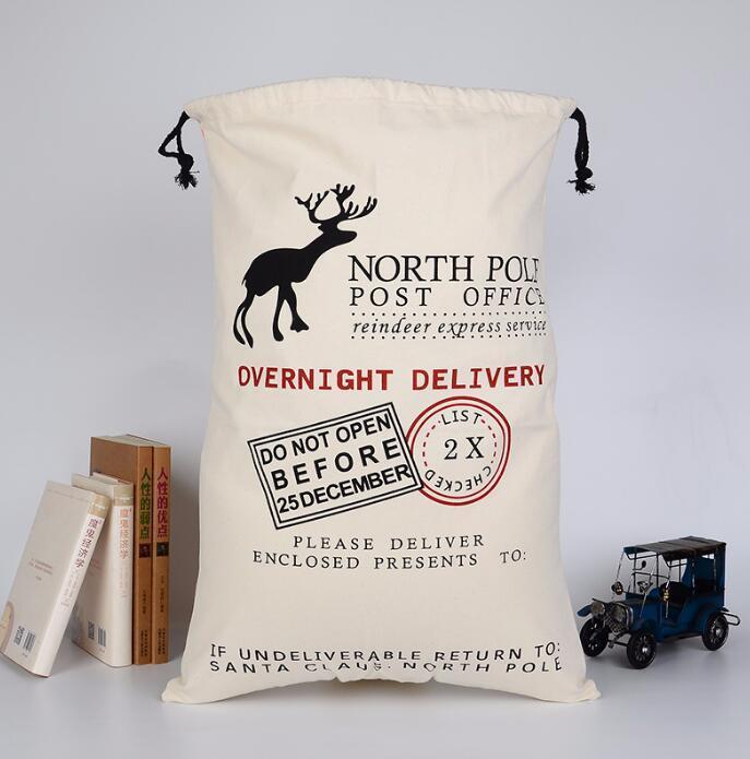 Presente de Natal sacos de algodão canvas saco de doces Santa Claus cervo saco de lona saco de cordão de lona xmas crianças de armazenamento de presente decoração YYB2648