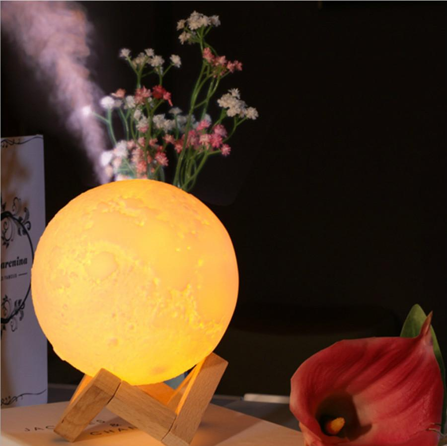 Air Humidifier 3D Moon Lamp light Diffuser Aroma Essential Oil USB Ultrasonic Humidificador Night lights Mist Purifier 880ML 13cm