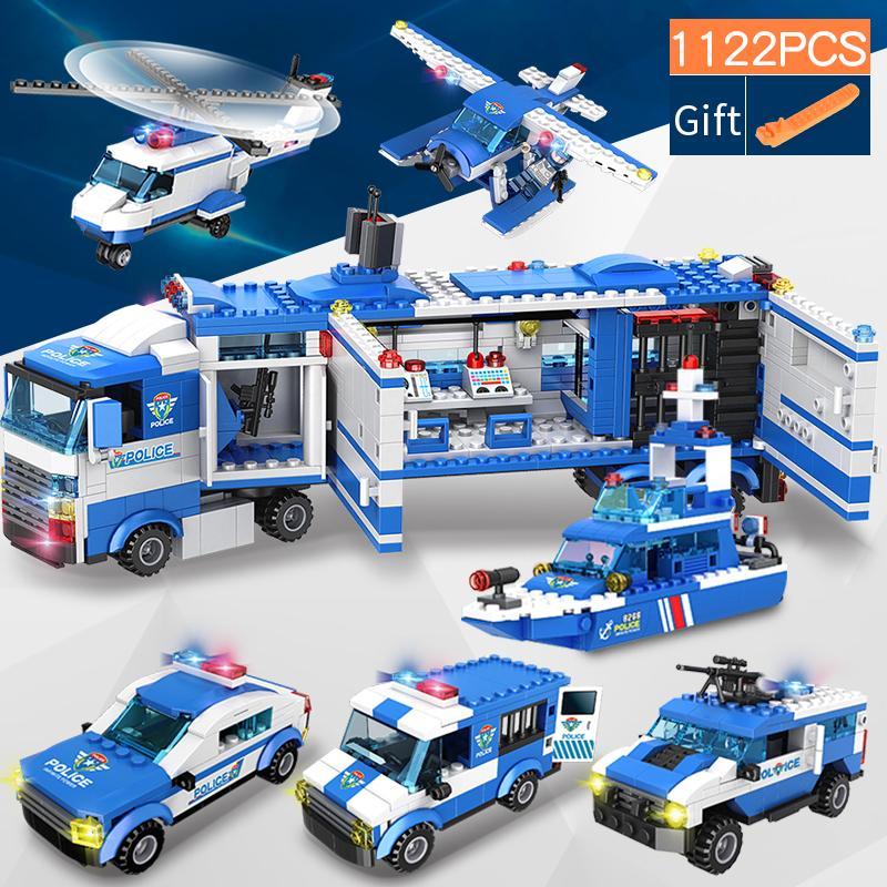 1122 шт. Городской полицейский участок SWAT строительные блоки автомобиль вертолет городской дом грузовые блоки креативные кирпичи игрушки для детей мальчиков Q1221