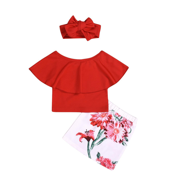 Recém-nascido criança bebê meninas roupas impressão floral saias headband rodada pescoço top 3 pcs kids outfit
