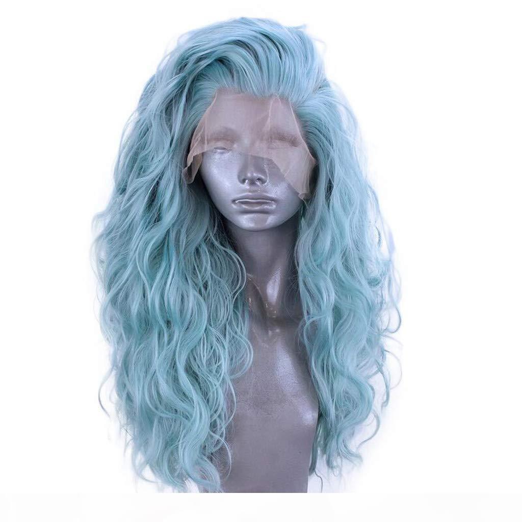 Donne sintetica Lace Front parrucca glueless naturale ondulate onda lunga parrucca termoresistente Densità completa parte libera (blu, Lunghezza: 24inch)