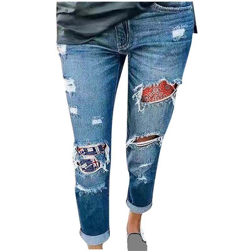 Strappato per le donne Jeans Stampa leggings Mettere pantaloni sottili traspiranti a vita alta elastico dell'anca