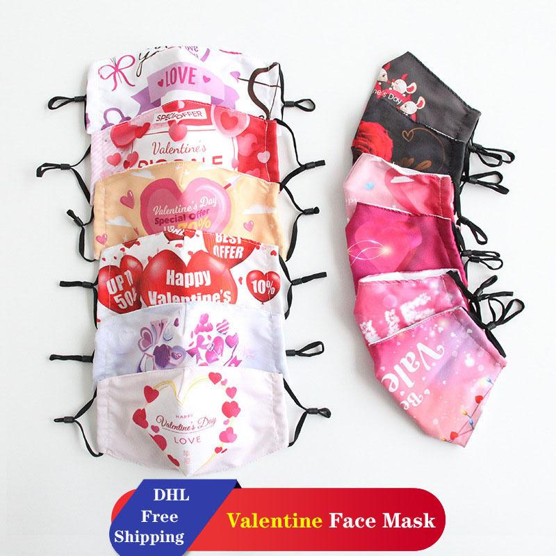 DHL Бесплатная Доставка День Святого Валентина Маски Хлопковые пылезащитные Моющиеся Маски Для Взрослых Пара Маски могут поставить PM2,5 Фильтры