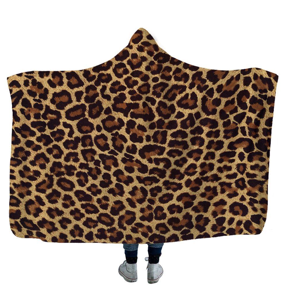 Одеяло подсолнечника с капюшоном леопард напечатанные флисовые одеяла взрослых детей мягкие теплые шапки шерпы путешествия пикник бросает полотенце 13Styles GWF4144