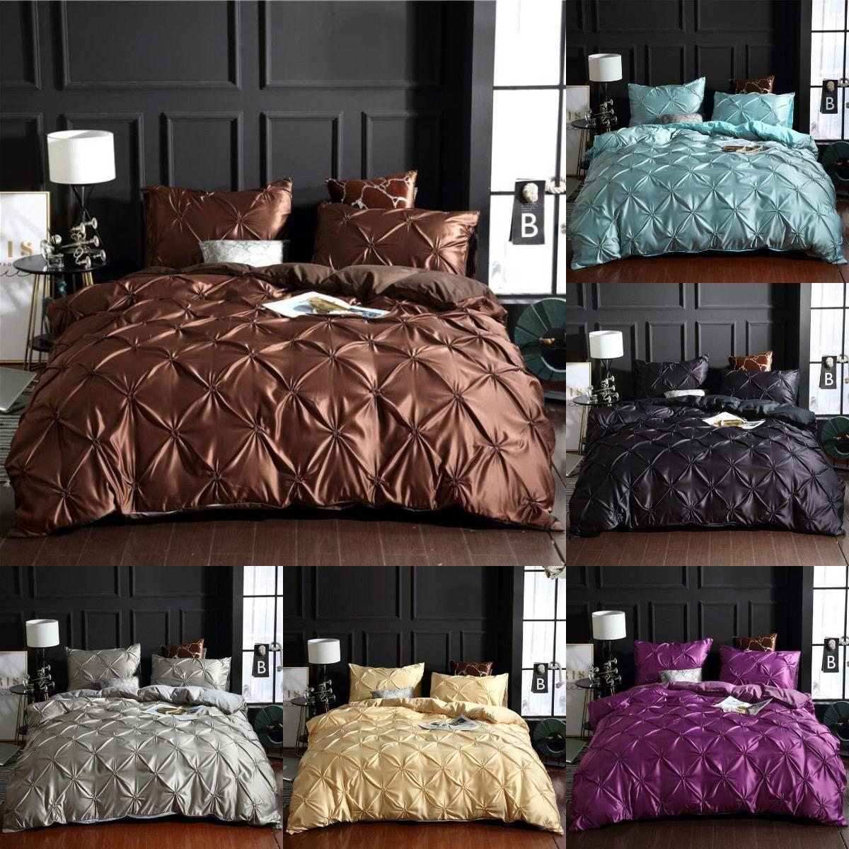 Sólida Cor de lençóis de lençóis lavado conjunto de cama de luxo capa de edredão de cama de casal capa de cama queen size lençóis conjunto edredons