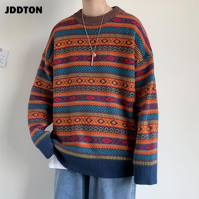 Jddton Winter männer casual gestreiften gestrickten pullover harajuku strickwaren rundhals pullover mann mode patckwork streetwear je602