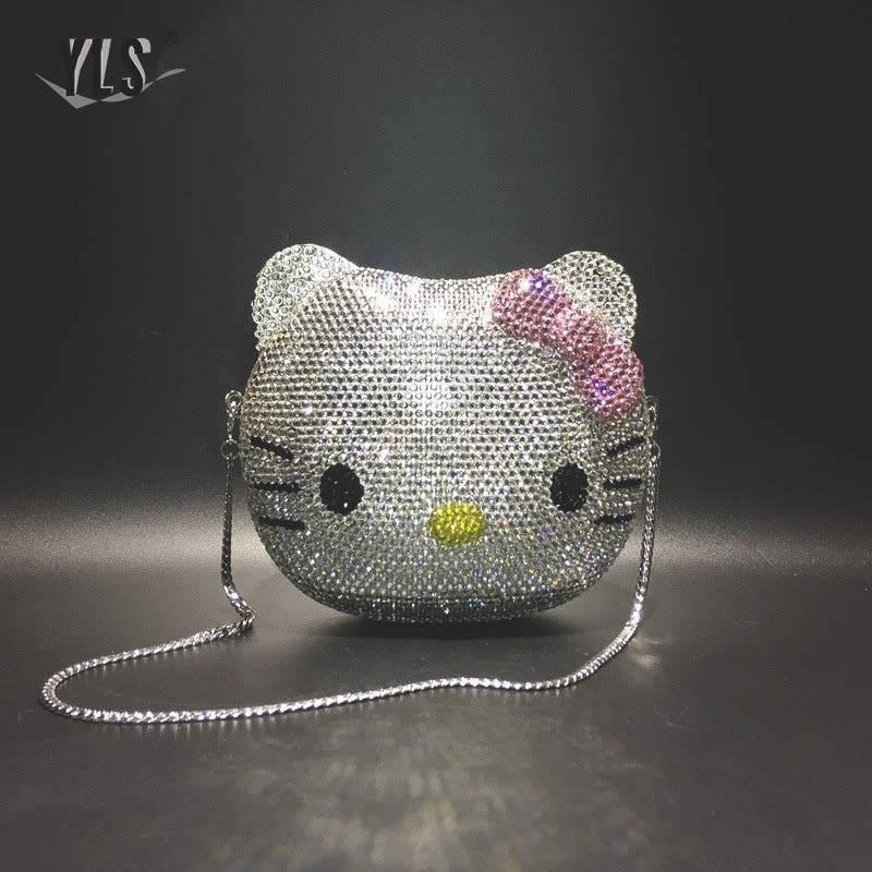 Schöne Cartoon 3D Katze Strass Clutch Geldbörse Silber Gold Luxus Party Abend Diamant Tasche Frauen Kristall Handtaschen Sac A Main 201204