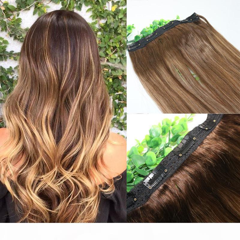 Ombre Çilek Ballı Sarışın Kahverengi Özellikler Ile Tek parça Klip İnsan Saç Uzantıları 5Clips Ile Parça Remy İnsan Saçında Dantel
