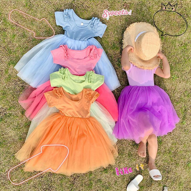 الفتاة فساتين الصيف الفتيات توتو اللباس الطفل أطفال vestidos الأطفال أزياء الملابس الحلوى لون شبكة التصحيح ruched الأزهار 3 إلى 12 سنة