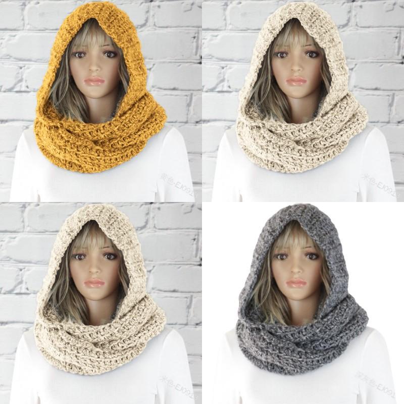 Donne Fashion Hood Sciarpa Lady Pure Color Autunno Inverno Tenere il cappello caldo di lana a maglia casual sciarpe 29s J2