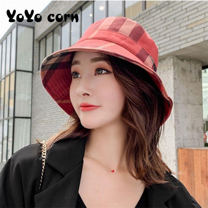 Yoyocorn outono e inverno xadrez pescador chapéu fashion senhoras casual doce sunscreen sunshade outdoor boné de dobramento 201215
