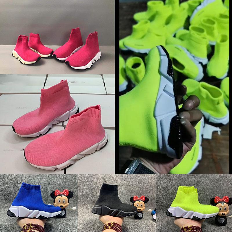 2020 Moda Bebé Niños Zapatos Calcetines Botas Niños Slip-On Casual Flats Speed Trainer Sneakers Boy Girl High-Top Zapatillas 24-35
