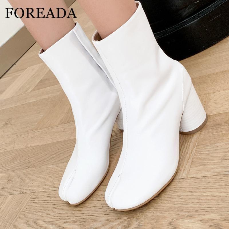 Foreada yüksek topuk kadın çizmeler doğal hakiki deri ayak bileği çizmeler yuvarlak topuk kısa toka kayış bayanlar ayakkabı beyaz boyutu 41