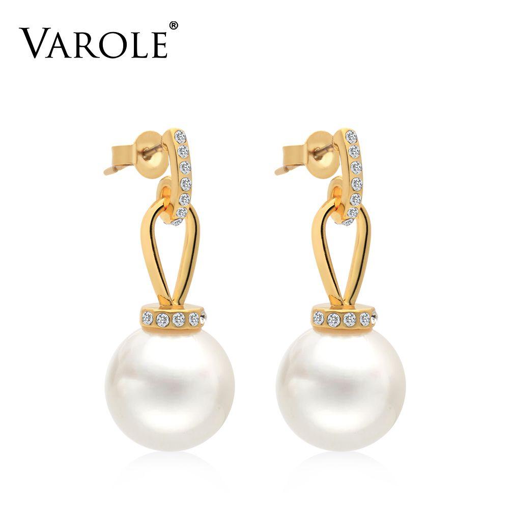 VAROLE Big Pearl Dangle Earrings Matte Gold color Earings Drop Earrings For Women Long Earring Fashion Jewelry Brinco