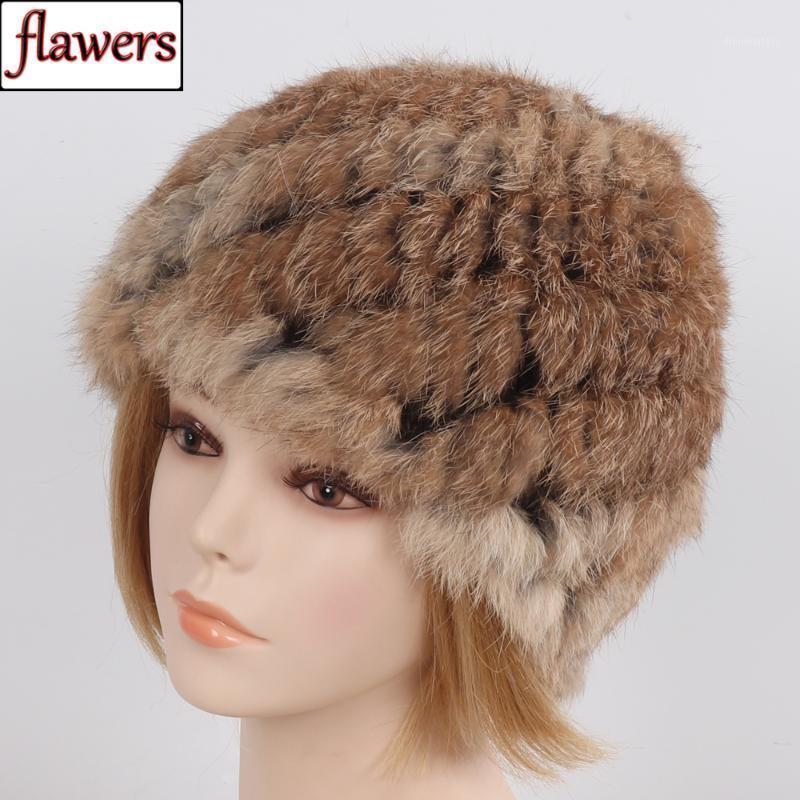 2020 New Winter Real Fur Hat Knitted Lady Warm Real Fur Hats Russia Women Natural Cap Wholesale Retail1