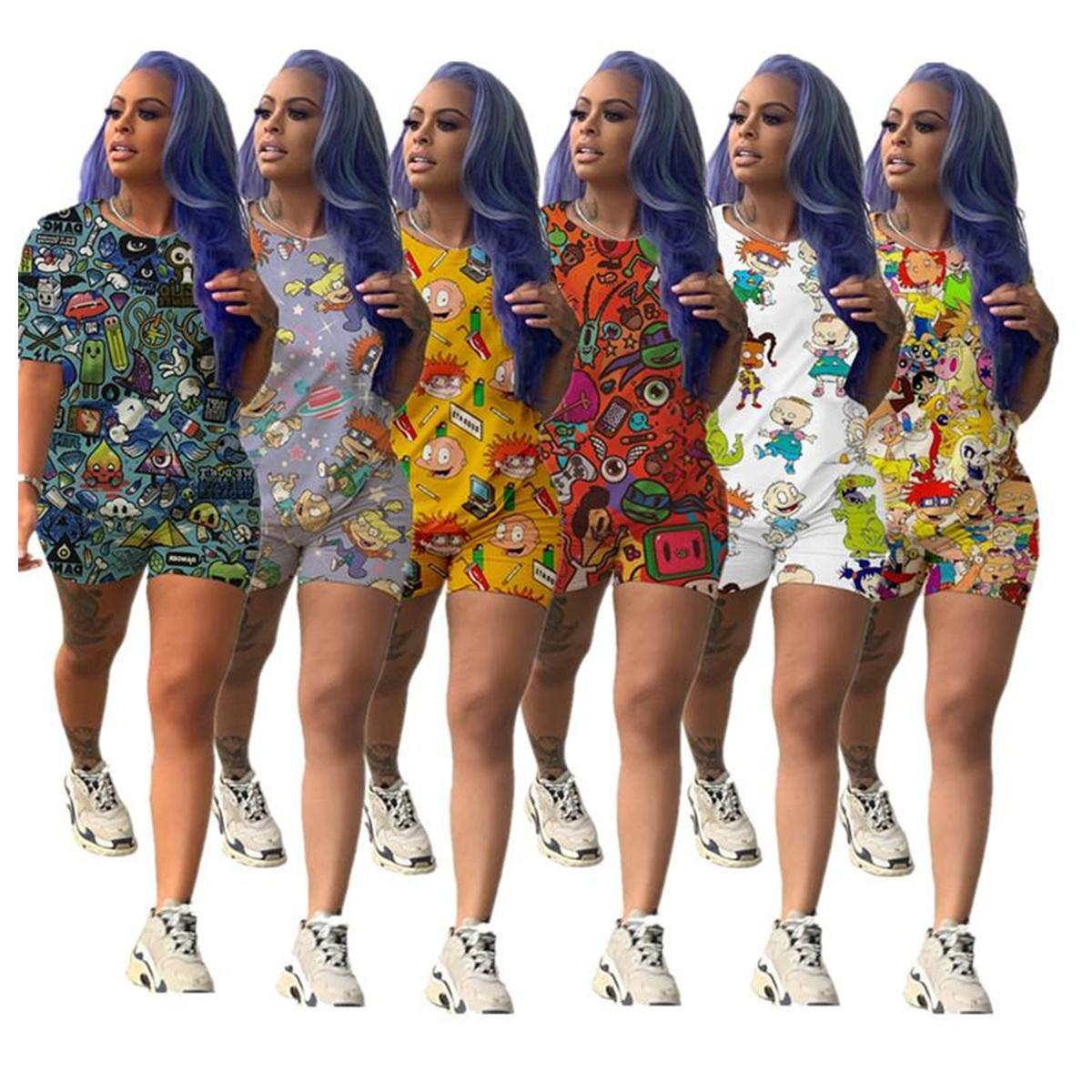 Женские шорты спортивные мультфильм печать двух частей набор с короткими рукавами футболки + шорты мода летняя футболка Sportswear 2020 S-3XL