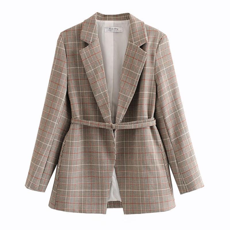 Nouveau 2020 Spring Spring Drot Dames Vérifications Costumes Europe America Mode Fashion Costume Blazer Casual Veste Vêtements de dessus avec ceinture