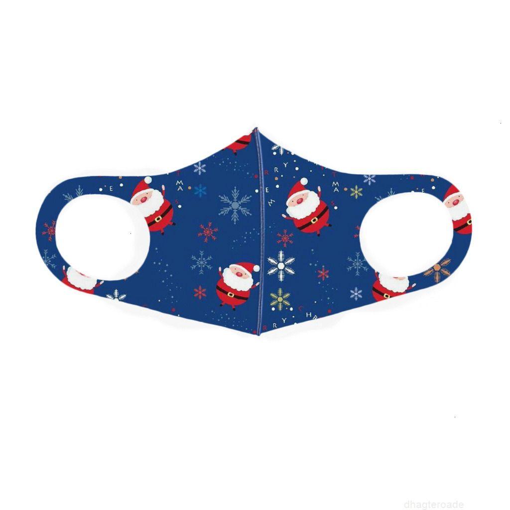 Forma de Natal à prova de poeira Papai Noel Elk Impressão de algodão respirável máscara para crianças Xmas Face Masks HHC2063