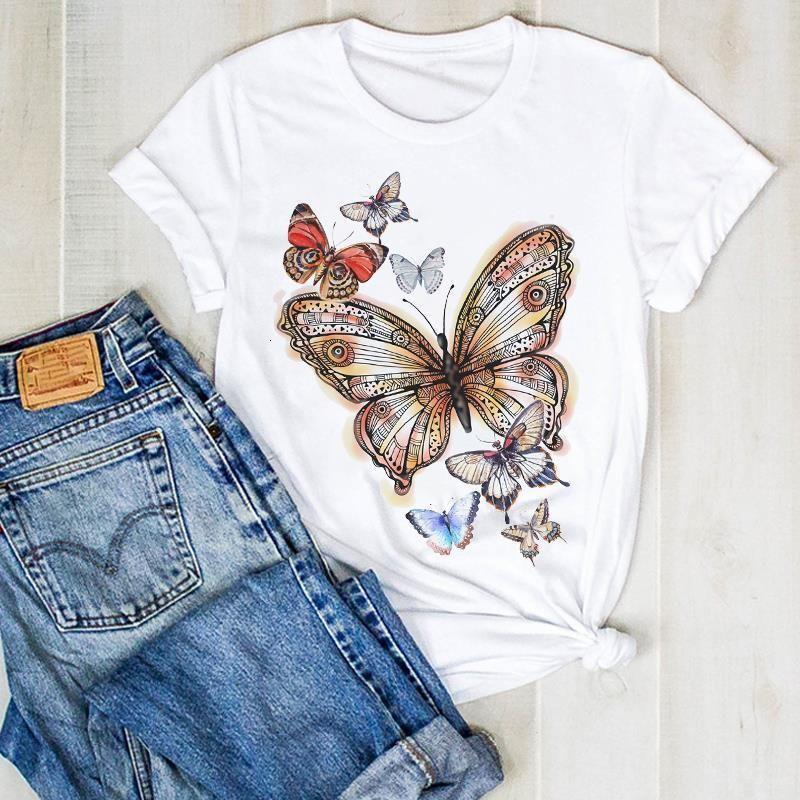 Женская леди Летняя бабочка Милая мода 90-х годов Печать Дамы T Tee Tshirt Женская женская Верхняя Рубашка Одежда Графическая Одежда Футболка