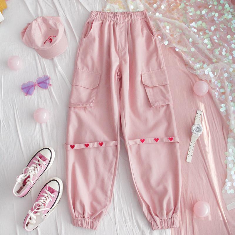 Harajuku мода уличная одежда женская грузовые брюки розовые высокие талии карманы сердца ленты брюки женские хип-хоп повседневные спортивные штаны