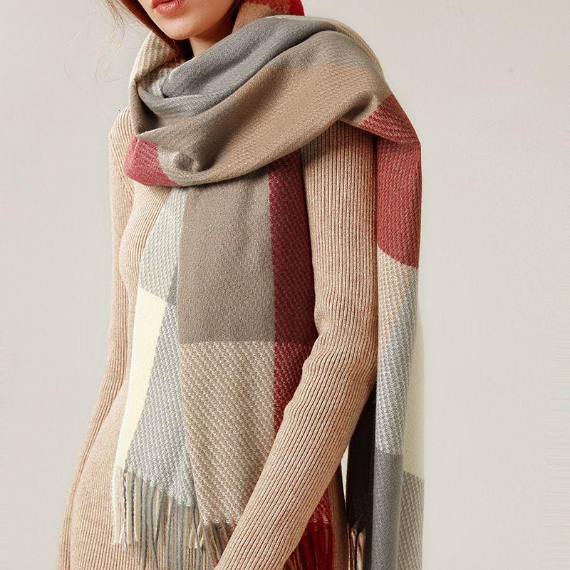 2020 New Fashion Cashmere Donne Sciarpa Plaid Sciarpa invernale Scialle calda e wrap Bandana Pashmina Femmina Femmina Foulard Lungo Coperta spessa