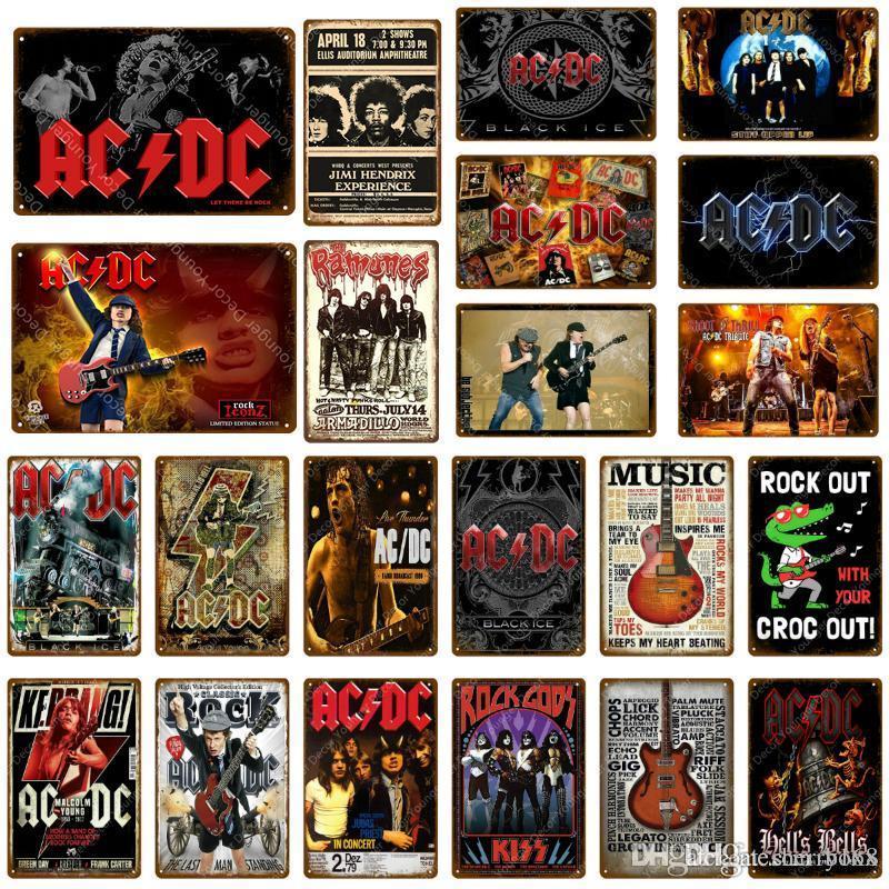 2021 Rock ACDC Film Vintage Metal Signes AC DC Musique Club Publicité Plaque Bar Café Pub Casino Décor Sticker mural Peinture Affiche murale
