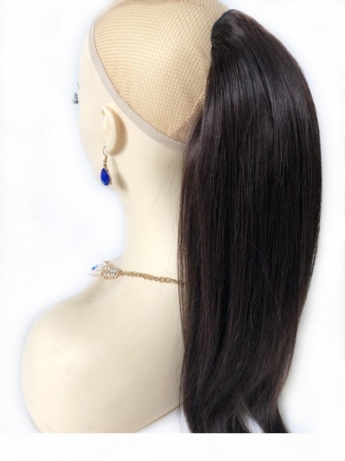 Darkest Brown Human Hair Extension Soltstring Ponytail Straight Rial Virgin Virgin Natural Play Clip en cola de caballo para mujeres # 2 Pony Tail