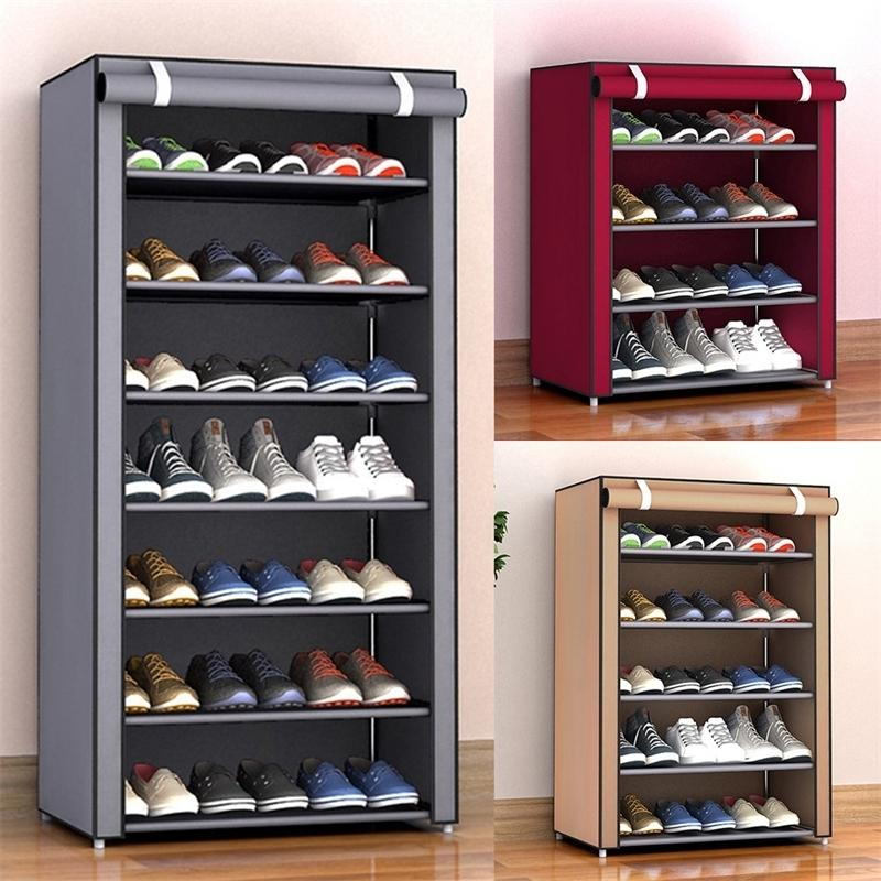 3/4/5/6/8 Layers Dustproof Assemble Shoes Rack DIY Home Furniture Non-woven Storage Shoe Shelf Hallway Cabinet Organizer Holder Y200429