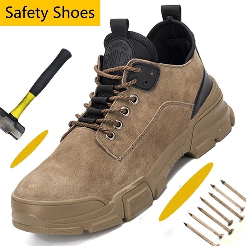 Couro de camurça de couro dedo dedos atléticos construção industrial construção indestrutível trabalho sapatos ao ar livre homens 201204