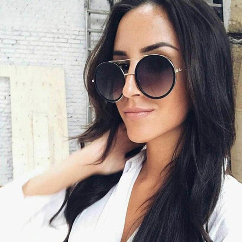 Designer retro frauen frauen sonnenbrille marke 2020 sonnenbrille legierung frauen spiegel weiblich für uv runde ins beliebte bibxh