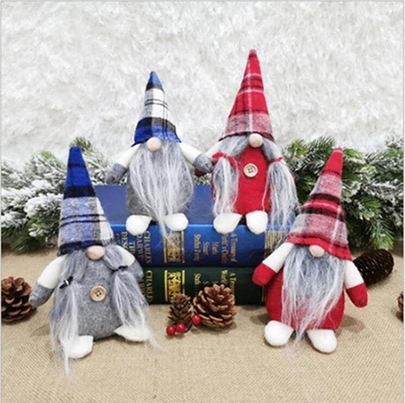 Noel Bebek Ekose Gnome Süsler Hediyeler Noel Baba Yüzlü Asılı Kolye Noel Bebek Dekorasyon Parti Favor 2021 Yeni Yıl FY7176