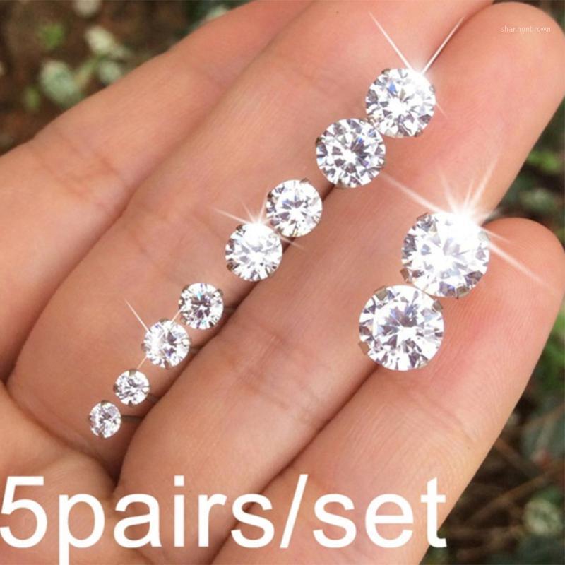 5 paia / Set Ipoallergenico Crystal Ear Stud Orecchini 2 3 5 6 8 mm Donne Girls Lady Zircon Orecchini1