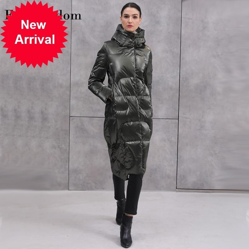 2020 inverno European e American New Style Style Fashion Bright Face Bright Face Long Hooded Spesso