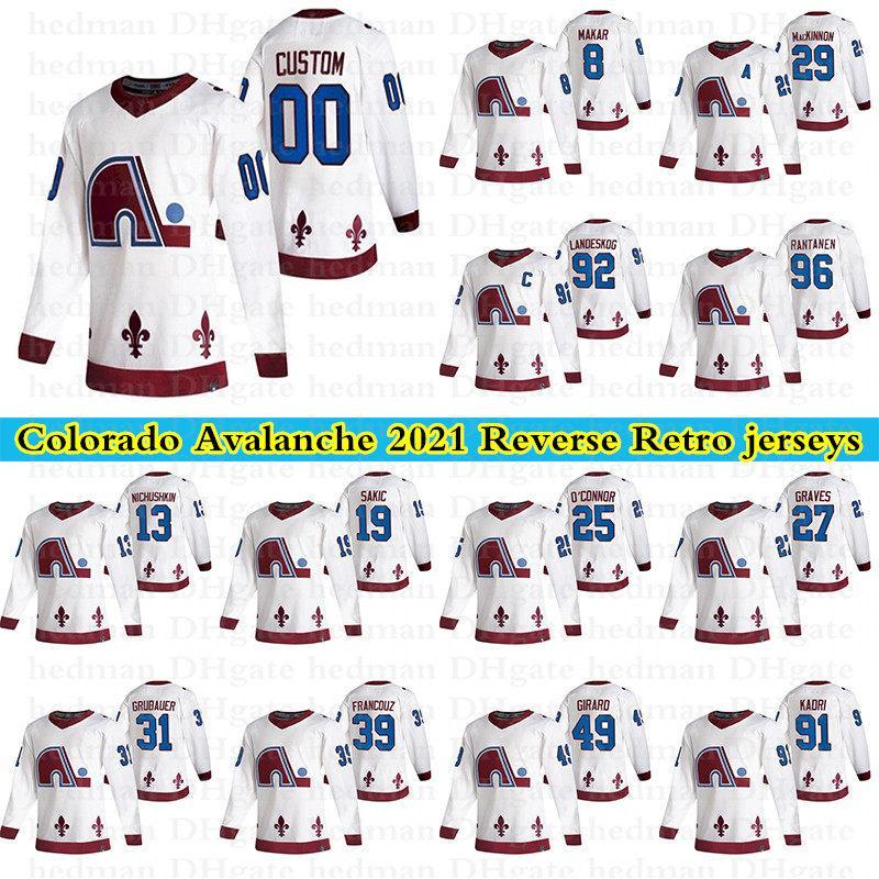 2021 Colorado Avalanche Reverse Retro Jerseys 96 Rantanen 29 Mackinnon 8 Cale Makar 92 Landeskog Personalizado Qualquer Número Qualquer Nome Hóquei Jersey